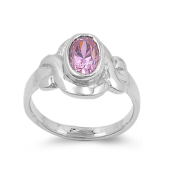 Sterling Silver Filigree Oval CZ Tourmaline 9MM CZ Petite Ring