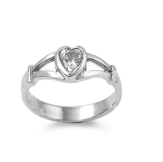 Sterling Silver Crush Heart CZ 5MM CZ Petite Rings