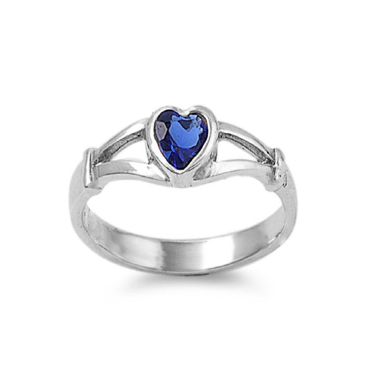 Sterling Silver Crush Heart CZ Sapphire 5MM CZ Petite Rings