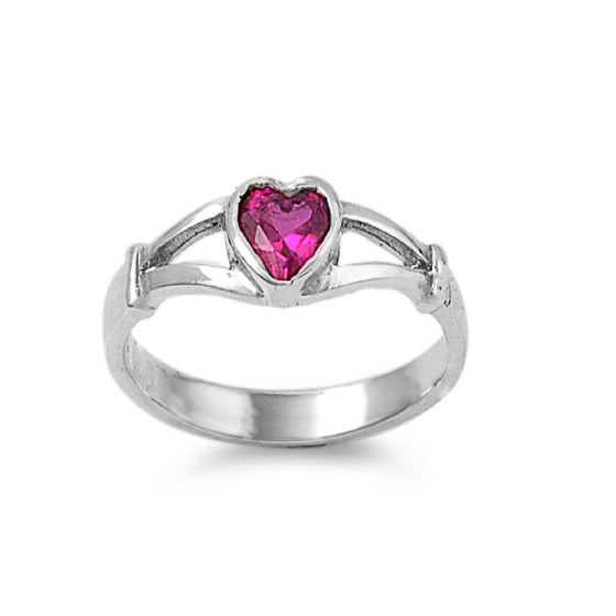 Sterling Silver Crush Heart CZ Ruby 5MM CZ Petite Rings
