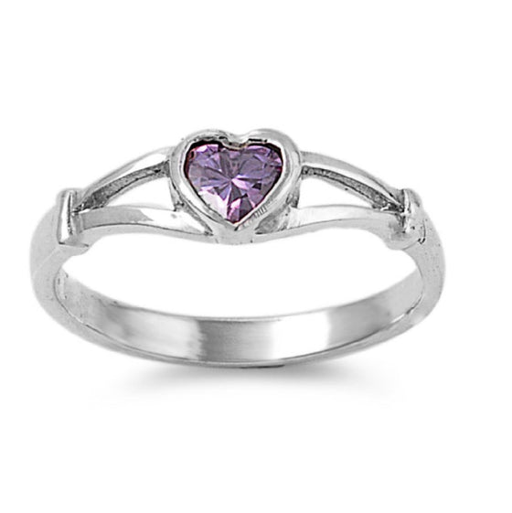 Sterling Silver Crush Heart CZ Light Amethyst 5MM CZ Petite Rings