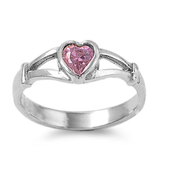 Sterling Silver Crush Heart Pink 5MM CZ Petite Rings
