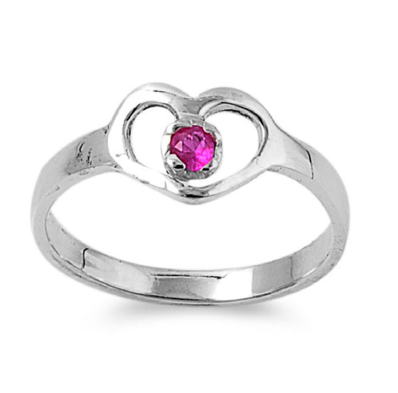 Sterling Silver Hands of Heart CZ Ruby 7MM CZ Petite Rings