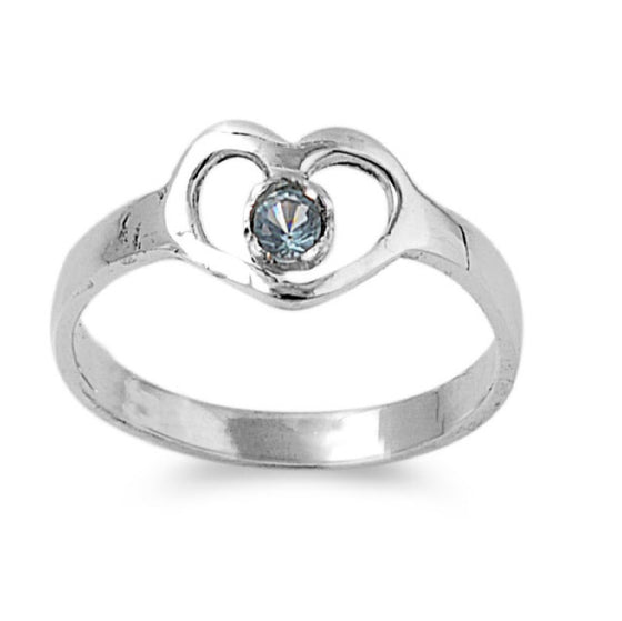 Sterling Silver Hands of Heart CZ Aquamarine 7MM CZ Petite Rings