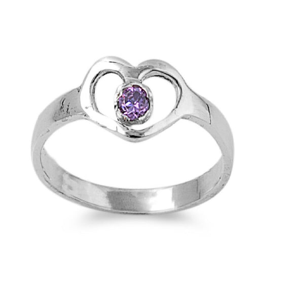 Sterling Silver Hands of Heart CZ Amethyst 7MM CZ Petite Rings