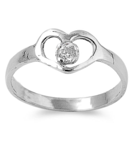 Sterling Silver Hands of Heart CZ 7MM CZ Petite Rings