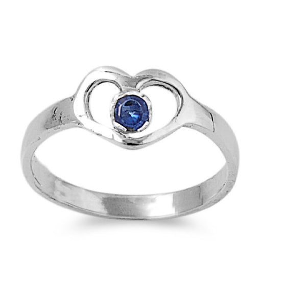 Sterling Silver Hands of Heart CZ Sapphire 7MM CZ Petite Rings