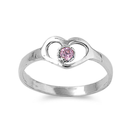 Sterling Silver Hands of Heart Pink 7MM CZ Petite Rings