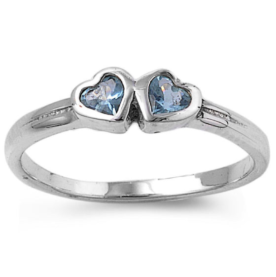Sterling Silver Twin Hearts CZ Aquamarine 4MM CZ Petite Rings