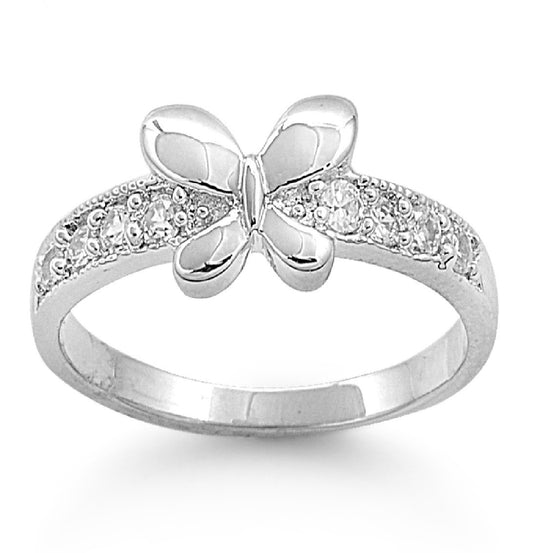 Sterling Silver Butterfly Bliss 6MM Petite Ring