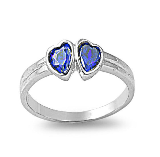 Sterling Silver Candy Twin Hearts CZ Sapphire CZ 4MM Petite Rings