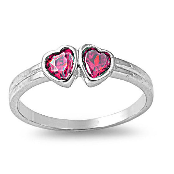 Sterling Silver Candy Twin Hearts CZ Ruby CZ 4MM Petite Rings
