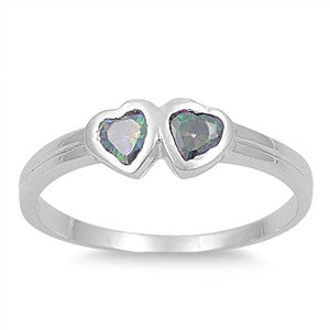 Sterling Silver Candy Twin Hearts CZ Mystic Topaz CZ 4MM Petite Rings