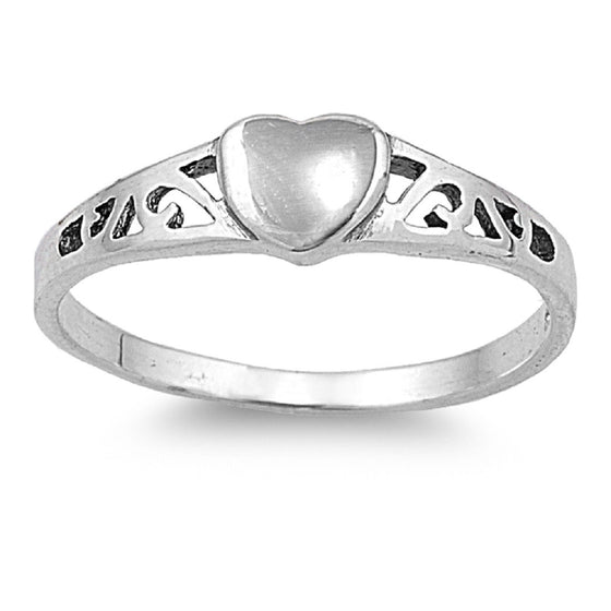 Sterling Silver Filigree Hearty Heart 5MM Petite Rings