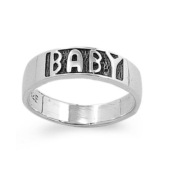 Sterling Silver Baby Word 4MM Petite Ring