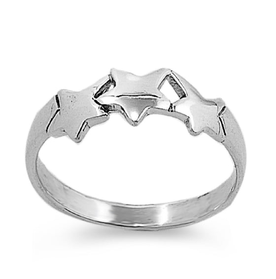 Sterling Silver Tri Star 5MM Petite Ring