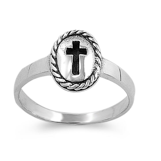 Sterling Silver Messiah Cross 9MM Petite Ring