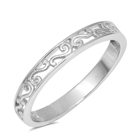 Sterling Silver Filigree Band Ring (Size 4 - 10)