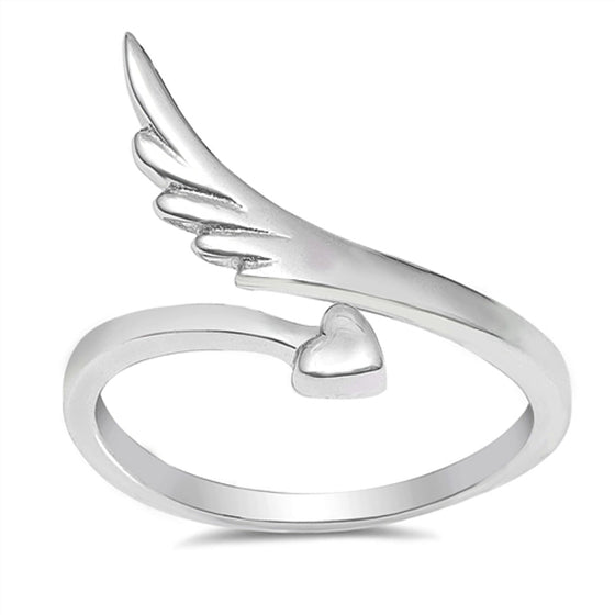 Sterling Silver Heart and Wing ring (Size 4 - 10)