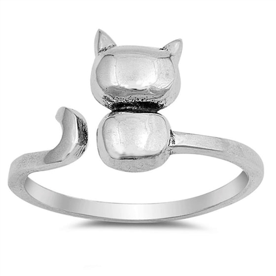 Sterling Silver Split Wraparound Cat Ring (Size 4 - 12)