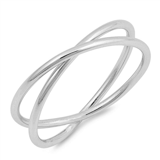 Sterling Silver X Criss Cross Ring (Size 4 - 10)