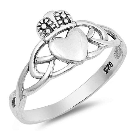 Sterling Silver Knot Claddagh Ring (Size 4 - 10)
