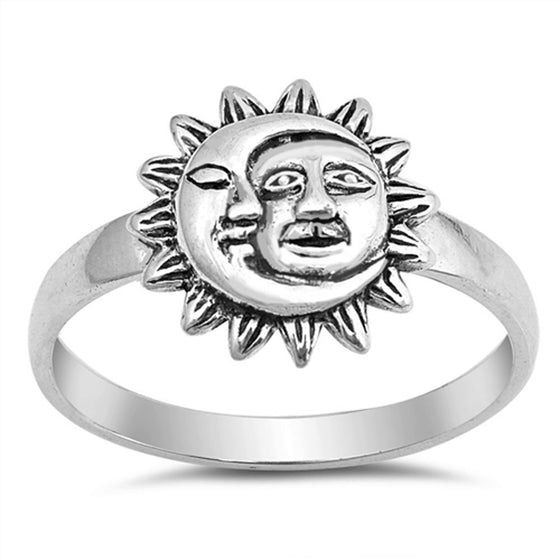 Sterling Silver Sun and Moon Ring (Size 4 - 10)
