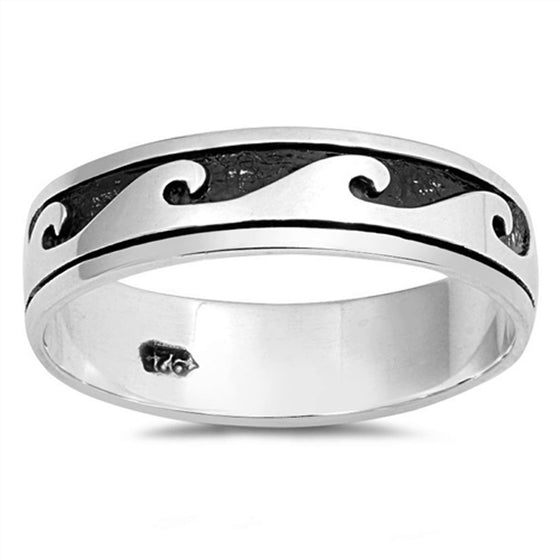 Sterling Silver Wave Ring Band (Size 4 - 10)