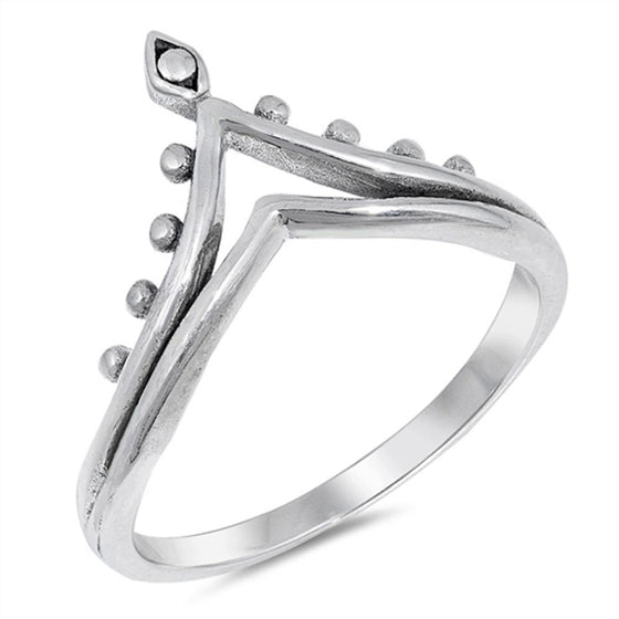 Sterling Silver Crown Pointed Tiara Ring (Size 4 - 10)