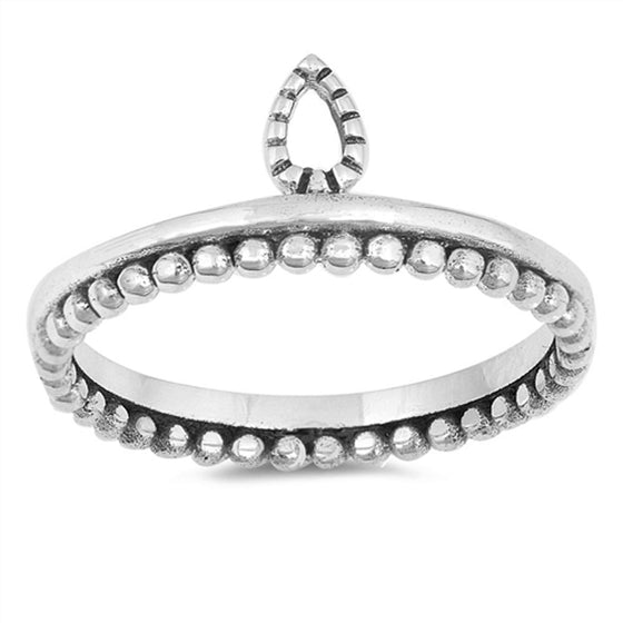 Sterling Silver Crown Tiara Ring (Size 4 - 10)