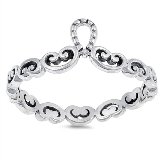 Sterling Silver Filigree Heart Tiara Ring (Size 4 - 10)