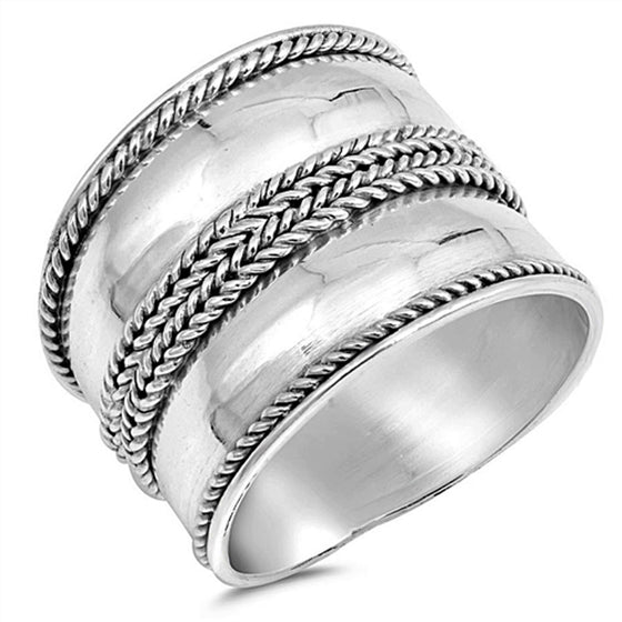 Sterling Silver Rope Bali Ring (Size 6 - 10)