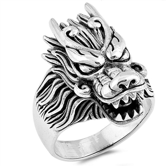 Sterling Silver Dragon Ring (Size 7 - 13)