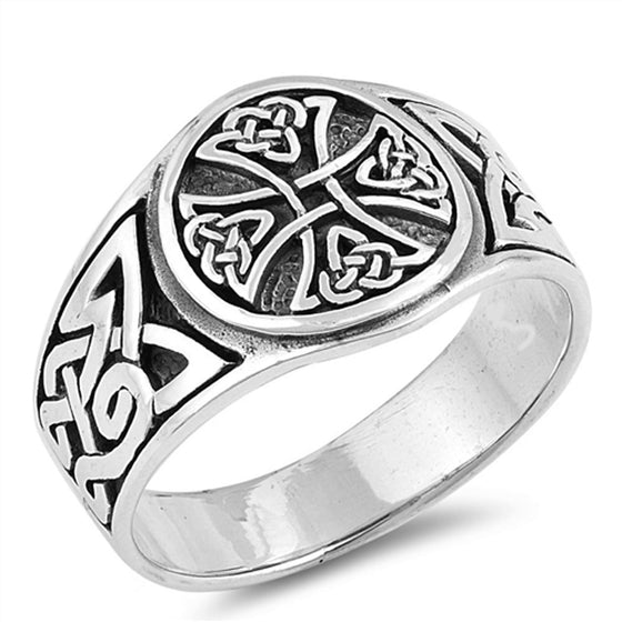 Sterling Silver Triquetra Iron Cross Ring (Size 7 - 13)