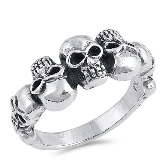 Sterling Silver Skulls Ring (Size 7 - 13)