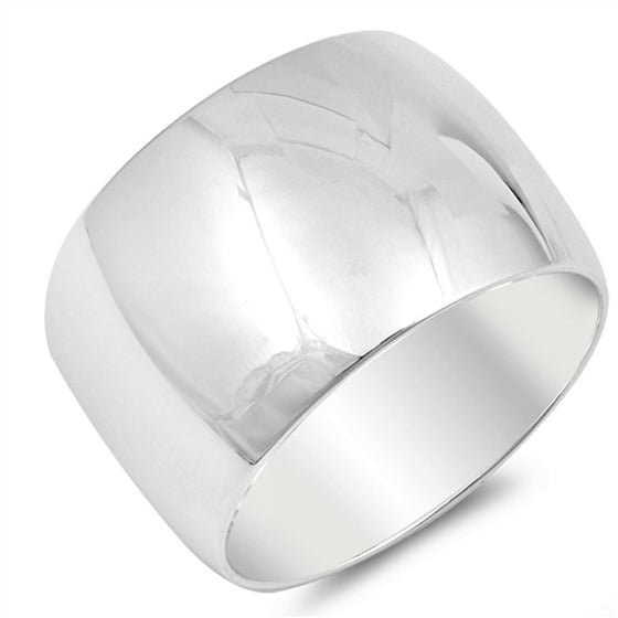 Sterling Silver Wedding Band 15MM (Size 6 - 15)