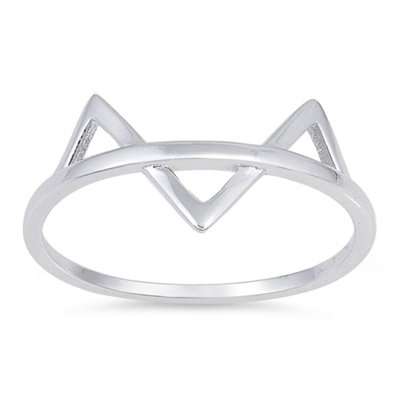 Sterling Silver Cat Ring (Size 4 - 10)