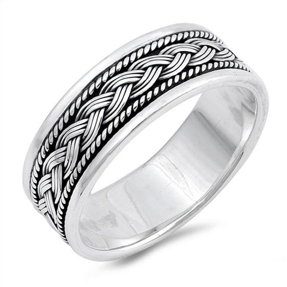 Sterling Silver Braid Weave Spinner Ring (Size 7 - 13)