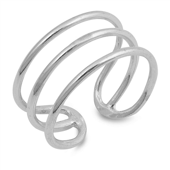 Sterling Silver Three Wires Ring (Size 5 - 10)