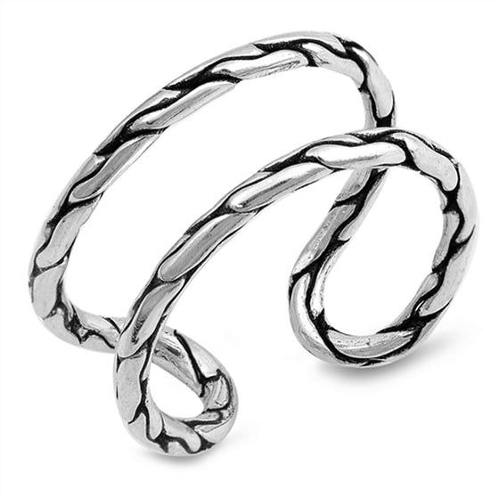 Sterling Silver Dual Bar Split Ring (Size 5 - 10)