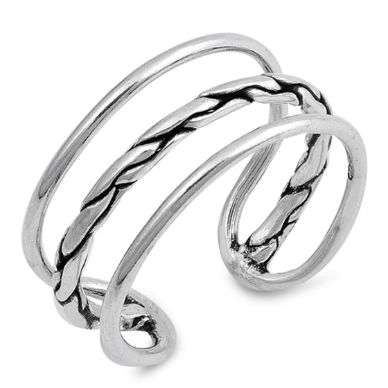 Sterling Silver Three Wires Knot Ring (Size 5 - 10)