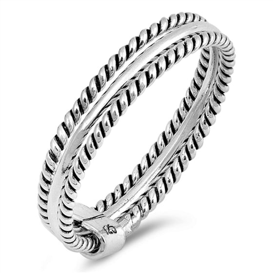 Sterling Silver Dual Rope Ring (Size 5 - 10)