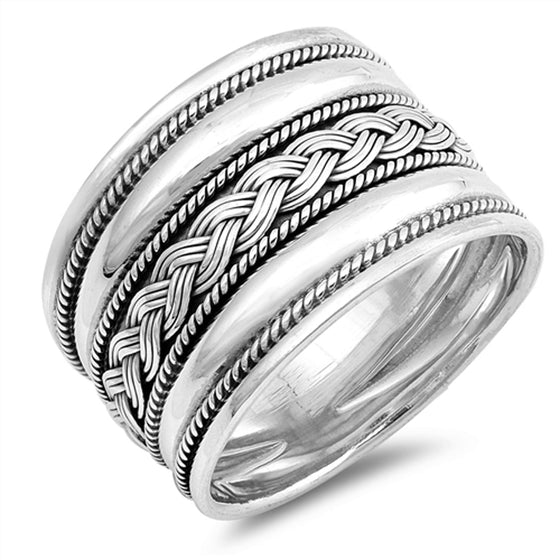 Sterling Silver Braid Center Bali Ring (Size 6 - 12)