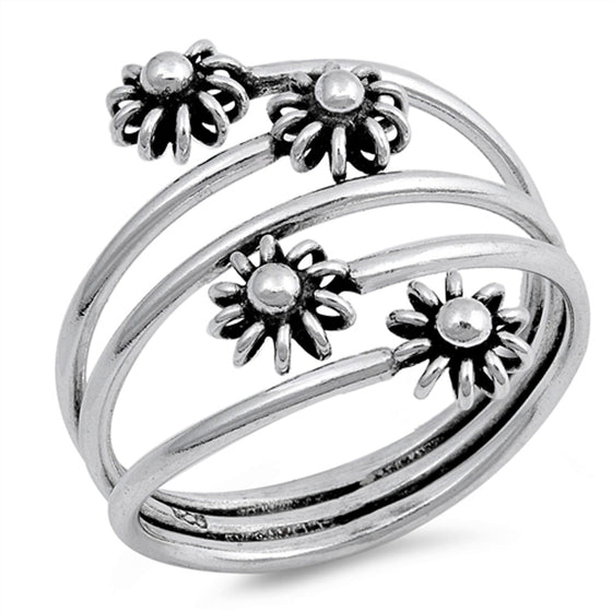 Sterling Silver Quad Wire Sunshine Ring (Size 5 - 10)