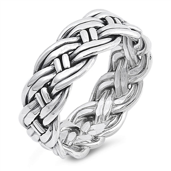 Sterling Silver Wraparound Rope Braid Ring (Size 7 - 13)