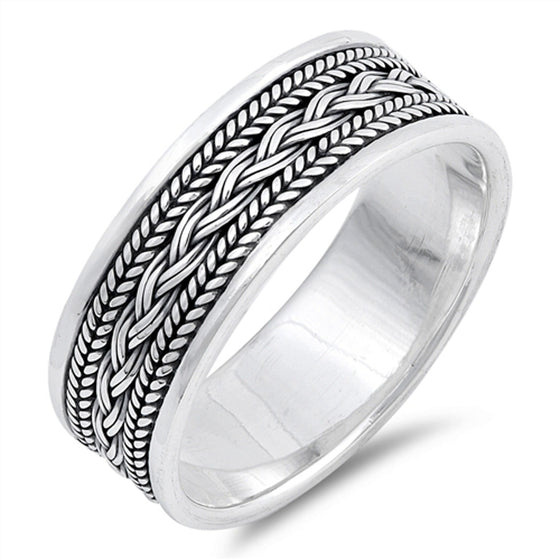 Sterling Silver Braid Weave Bali Ring (Size 7 - 13)