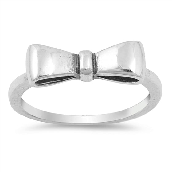 Sterling Silver Ribbon Bow Tie Ring (Size 4 - 10)