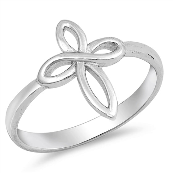Sterling Silver Knotted Cross Ring (Size 5 - 10)