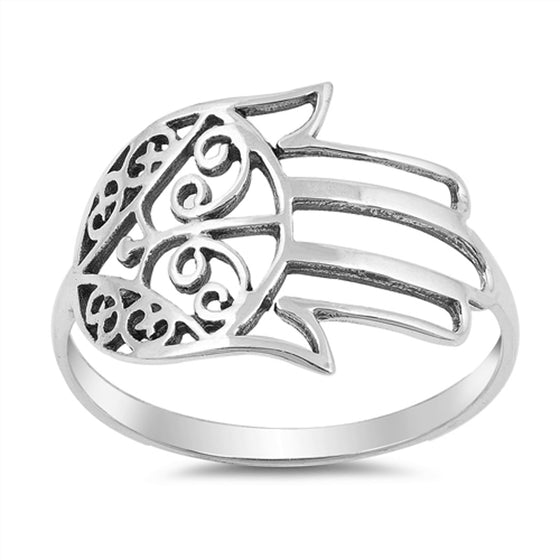 Sterling Silver Sideways Hamsa Ring (Size 5 - 10)