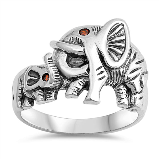 Sterling Silver Mother and Child Elephant Ring